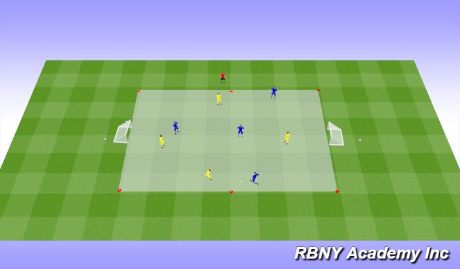Football/Soccer Session Plan Drill (Colour): Match - 4v4s on arrival