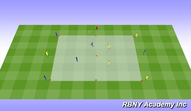 Football/Soccer Session Plan Drill (Colour): Main - 2v2+1 Target Player Transition