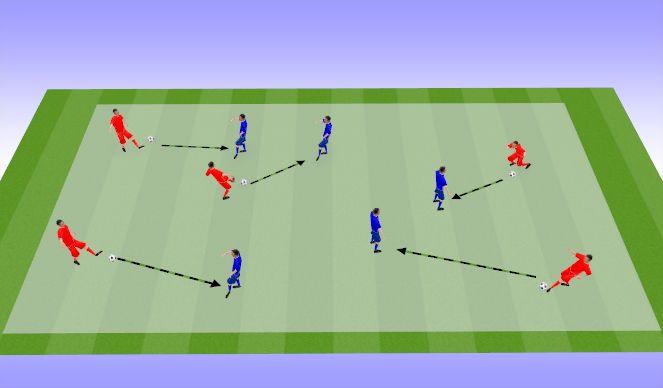 Football/Soccer Session Plan Drill (Colour): Передача мяча в парах