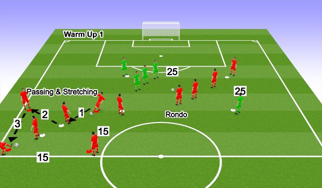 Football/Soccer Session Plan Drill (Colour): Match-Day Warm Up 1