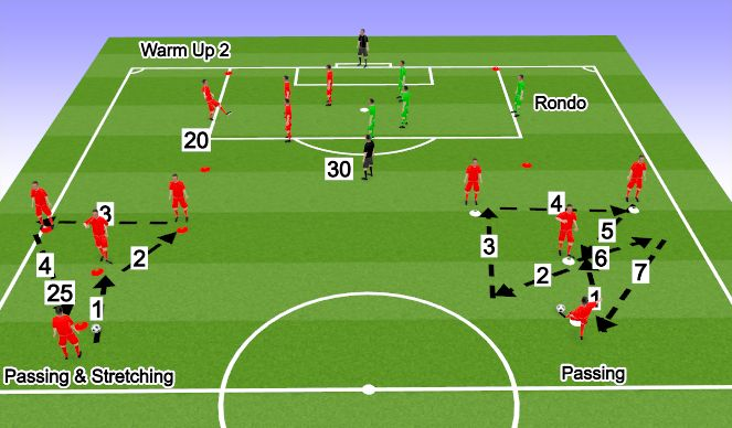 Football/Soccer Session Plan Drill (Colour): Match-Day Warm Up 2