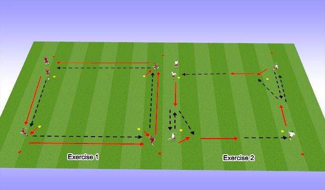 Football/Soccer Session Plan Drill (Colour): passing square warm up