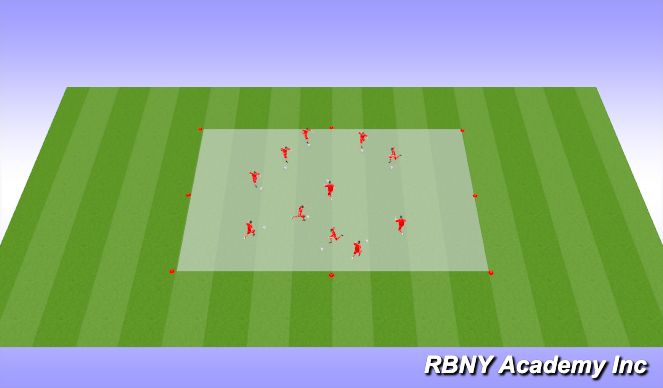 Football/Soccer Session Plan Drill (Colour): Introduction- Ball Mastery/100 Touch Race
