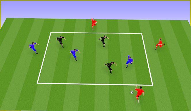 Football/Soccer Session Plan Drill (Colour): Rondo 4x3(+2)