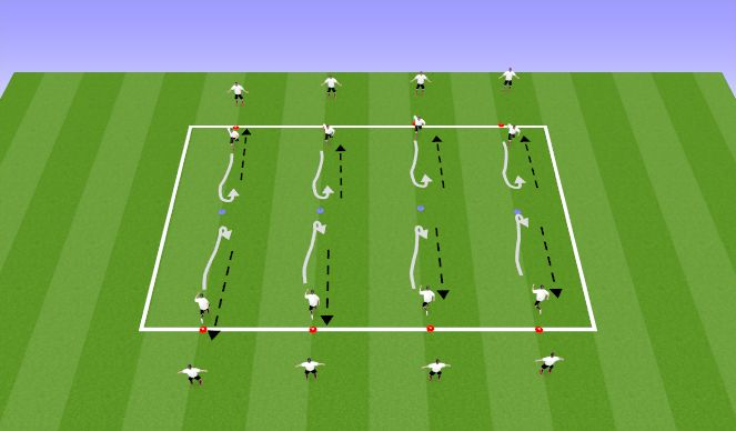 Football/Soccer Session Plan Drill (Colour): Dribble turn pass. Moves to help keep the ball