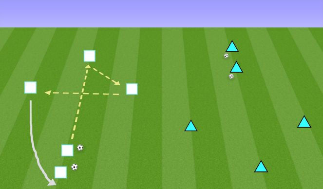 Football/Soccer Session Plan Drill (Colour): Pass and Follow Warm-Up
