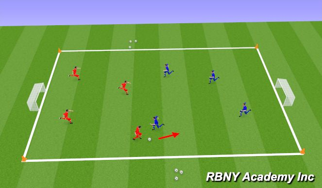 Football/Soccer Session Plan Drill (Colour): Dribbling- Conditioned game / Match