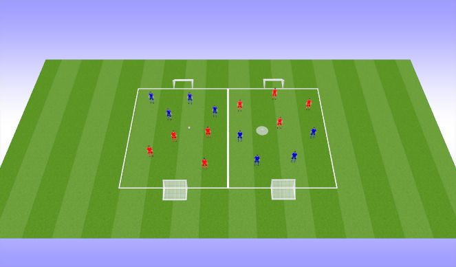 Football/Soccer Session Plan Drill (Colour): 4v4 tournament (25 mins)