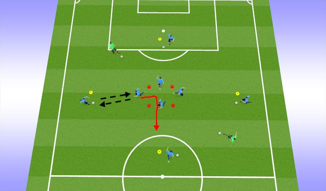 Football/Soccer Session Plan Drill (Colour): Cog Passing Warmup