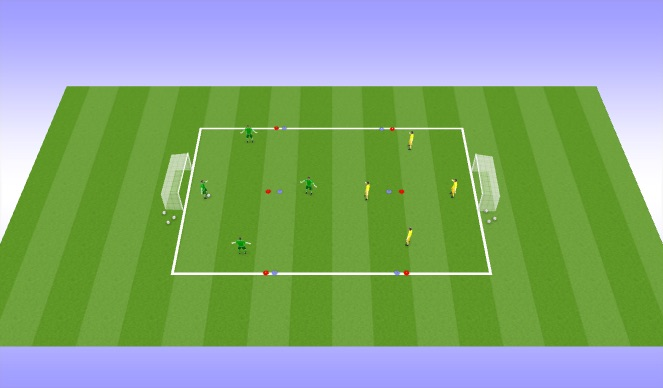 Football/Soccer Session Plan Drill (Colour): 4vs. 4 GK Game