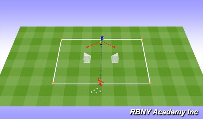 Football/Soccer Session Plan Drill (Colour): 1v1 Inverted Goals
