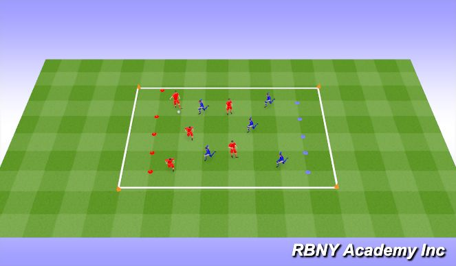 Football/Soccer Session Plan Drill (Colour): Dribble to Score