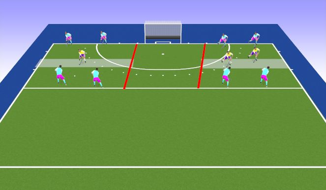 Hockey Session Plan Drill (Colour): Space invaders