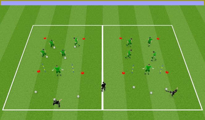 Football/Soccer Session Plan Drill (Colour): Agility, ball control and specifics
