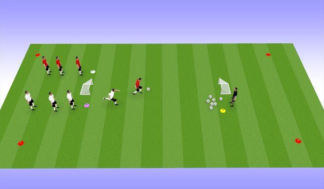 Football/Soccer Session Plan Drill (Colour): 1v1 w/rear defender