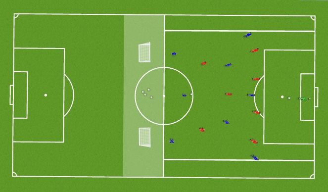 Football/Soccer Session Plan Drill (Colour): Functional Session - 8 v 8 in Att 1/3