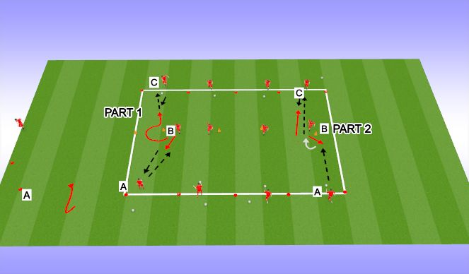 Football/Soccer Session Plan Drill (Colour): TECHNICAL 3 PLAYERS