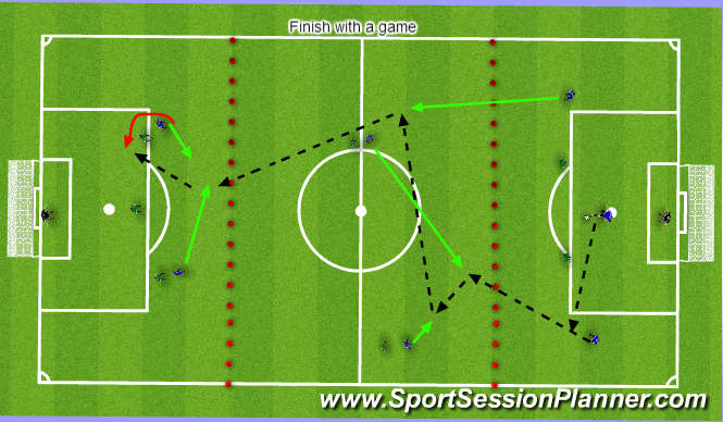 Football/Soccer Session Plan Drill (Colour): 8v8 in Thirds