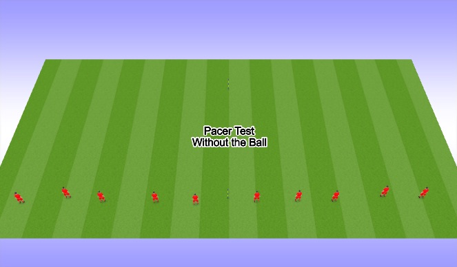 Football/Soccer Session Plan Drill (Colour): Pacer Test- Without the Ball