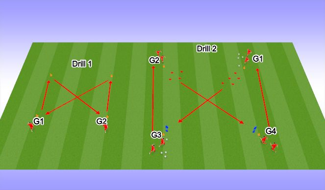 Football/Soccer Session Plan Drill (Colour): Warm Up Variation 1