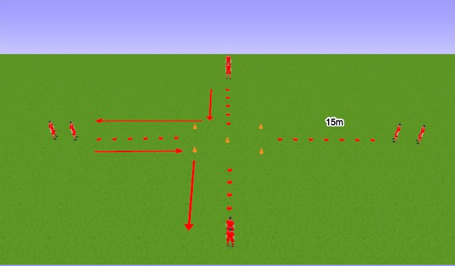 Football/Soccer Session Plan Drill (Colour): Warm Up Variation 3