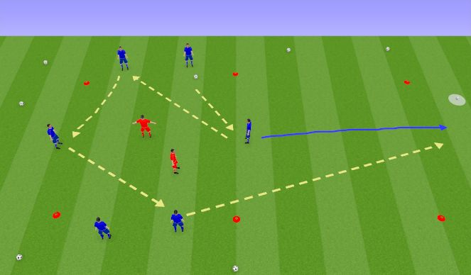 Football/Soccer Session Plan Drill (Colour): 6v2 Transfer Rondo