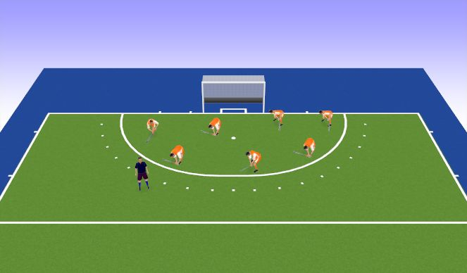 Hockey Session Plan Drill (Colour): hunting ball warm up game