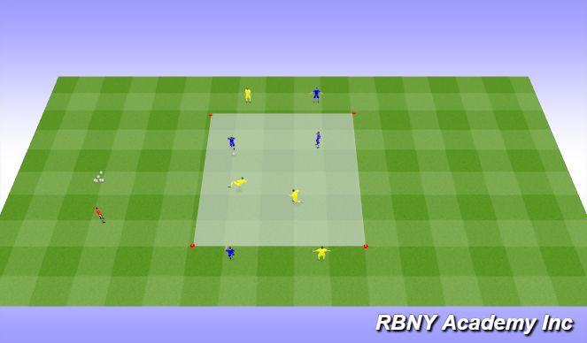 Football/Soccer Session Plan Drill (Colour): Intro - 2v2+4