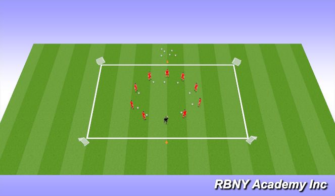 Football/Soccer Session Plan Drill (Colour): Intro Warm-up -5mins