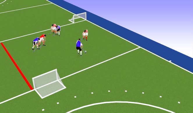 Hockey Session Plan Drill (Colour): Touch Tight Marking (Off-set goals)