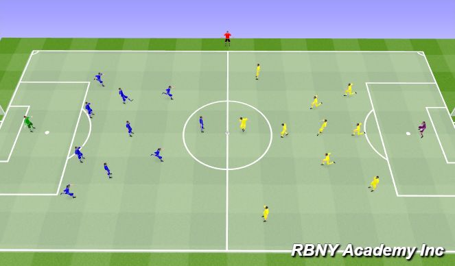 Football/Soccer Session Plan Drill (Colour): Match - 11v11