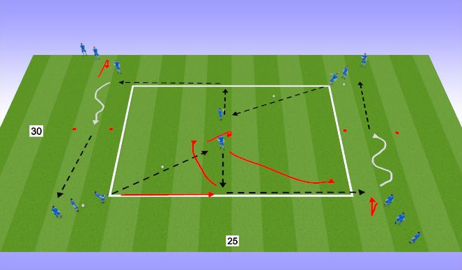 Football/Soccer Session Plan Drill (Colour): Rectangle(Lay Off)