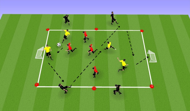 Football/Soccer Session Plan Drill (Colour): Condition Game 4v4+4