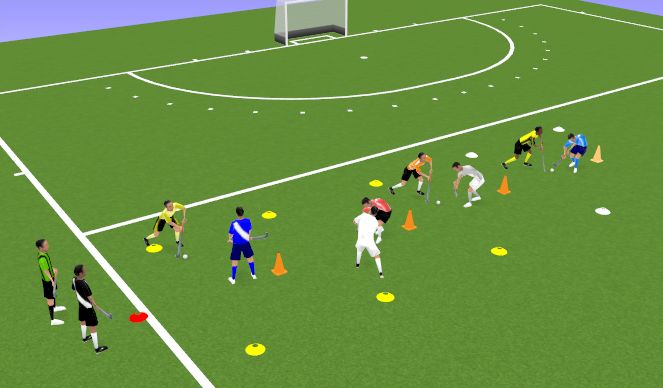 Hockey Session Plan Drill (Colour): King of the tower