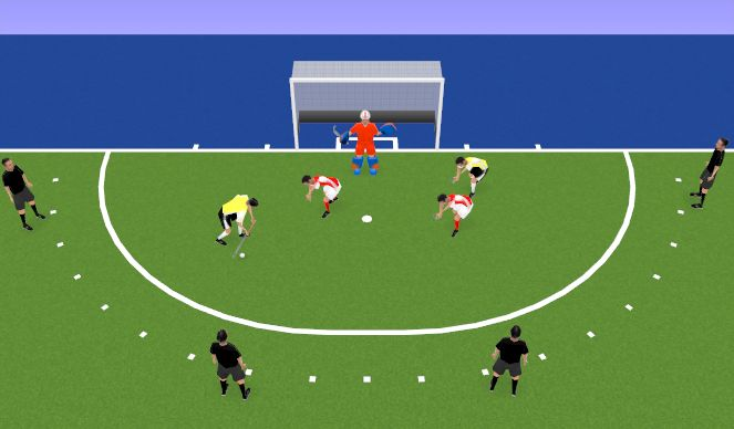 Hockey Session Plan Drill (Colour): Fox In The Box