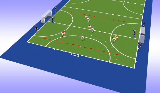 Hockey Session Plan Drill (Colour): 3 Team Finishing (2)