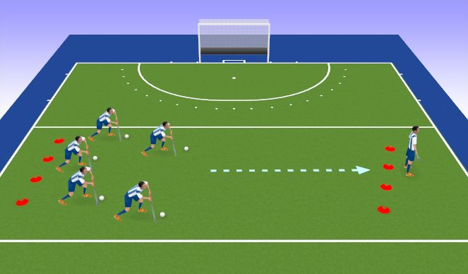 Hockey Session Plan Drill (Colour): Grandmother's Footsteps