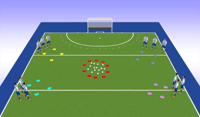 Hockey Session Plan Drill (Colour): Rob the Nest