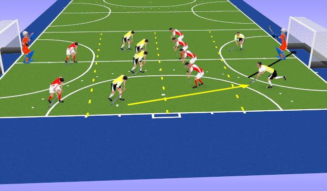 Hockey Session Plan Drill (Colour): Playing Through The Lines