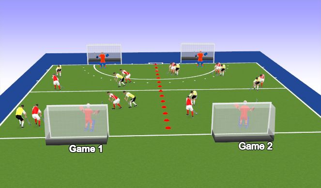 Hockey Session Plan Drill (Colour): Score & Move