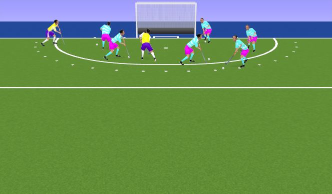 Hockey Session Plan Drill (Colour): Warm Up- Sharks and Fishes