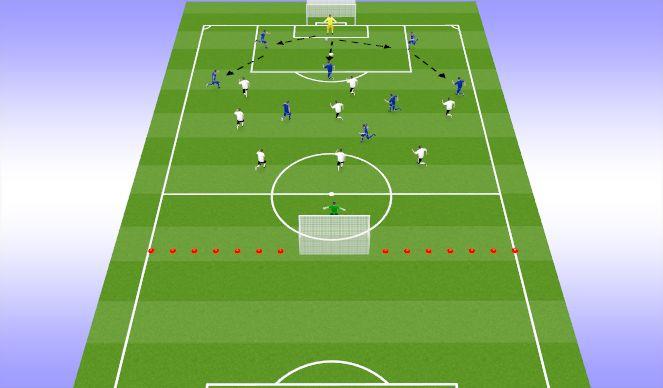 Football/Soccer Session Plan Drill (Colour): 9vs9 SSG