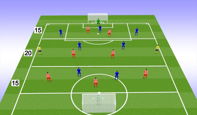 Football/Soccer Session Plan Drill (Colour): 9v9 with 3 thirds