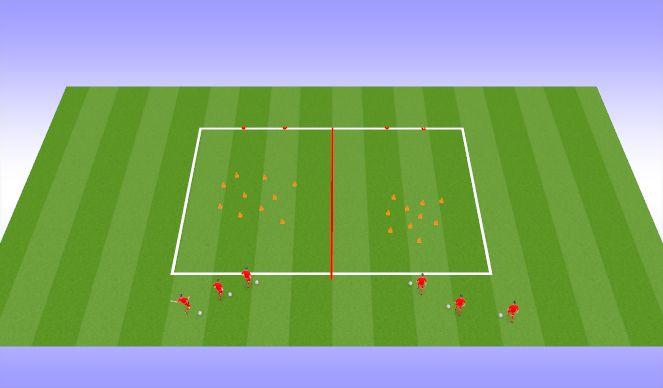 Football/Soccer Session Plan Drill (Colour): Dribbling Option 3