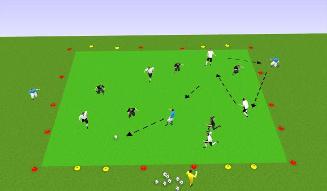 Football/Soccer Session Plan Drill (Colour): 5V5 + 2 4 Goal Game
