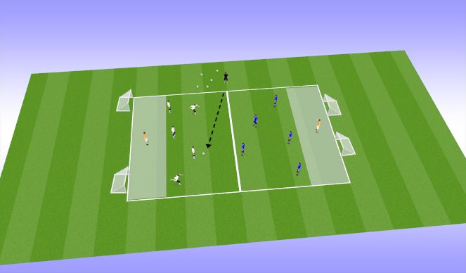 Football/Soccer Session Plan Drill (Colour): Transition: 5v5 + GK
