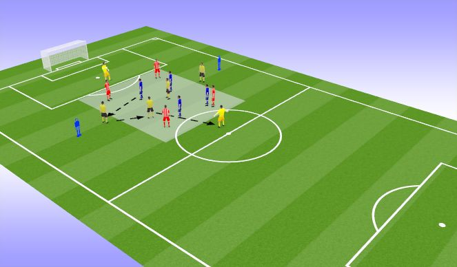 Football/Soccer Session Plan Drill (Colour): Keeping possession 4v4 + 6