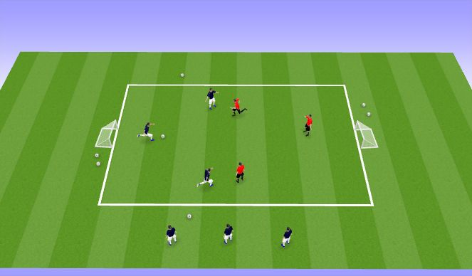 Football/Soccer Session Plan Drill (Colour): 3 vs 3 / 4 vs 4