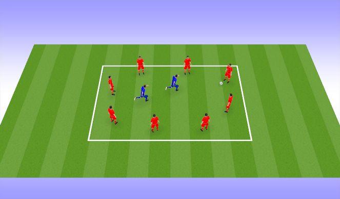 Football/Soccer Session Plan Drill (Colour): Rondo 8v2