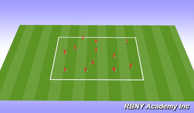 Football/Soccer Session Plan Drill (Colour): Warm up and ball mastery